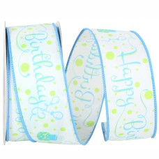 """""""Happy Birthday"""" Wired Ribbon, White with Blue Birthday Cakes & Fancy Font, 1 ½ Inch x 10 Yards (1 Spool) SALE ITEM"""