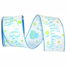 """""""Happy Birthday"""" Wired Ribbon, White with Blue Birthday Cakes & Fancy Font, 2 ½ Inch x 10 Yards (1 Spool) SALE ITEM"""