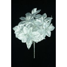 Silver Metallic Poinsettia x7  (Lot of 12) SALE ITEM