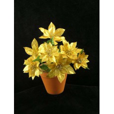 Large Poinsettia Bush, metallic gold (lot of 12)