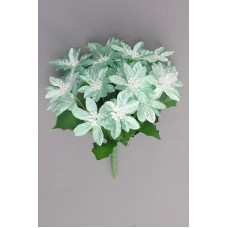 Satin Poinsettia Bouquet, teal (lot of 12)