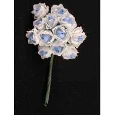 Miniature Silk Rose, blue / white, $0.18 per bunch (Sold in lots of 12 bunches) SALE ITEM