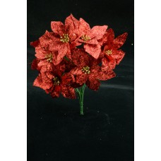 Red Metallic Poinsettia Bush x 7 (lot of 1 bush) SALE ITEM