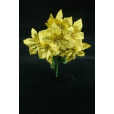 Gold Metallic Poinsettia Bush x 7 (lot of 1 bush) SALE ITEM