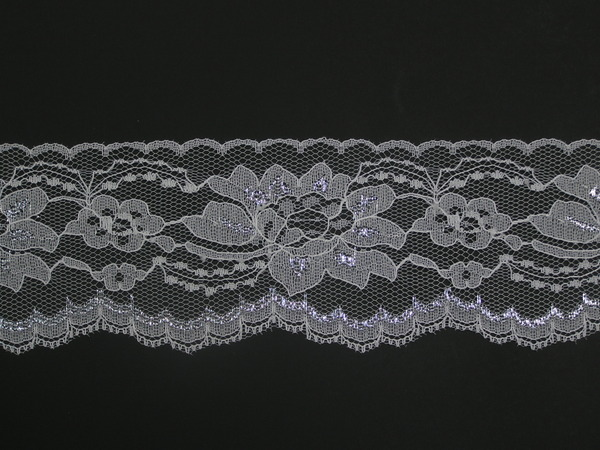 WHITE//SILVER~3 Inch Wide Floral Flat Lace Trim~By 5 Yards
