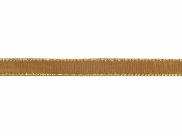 double face satin ribbon with gold edge brown 3 8 inch x 50 yards