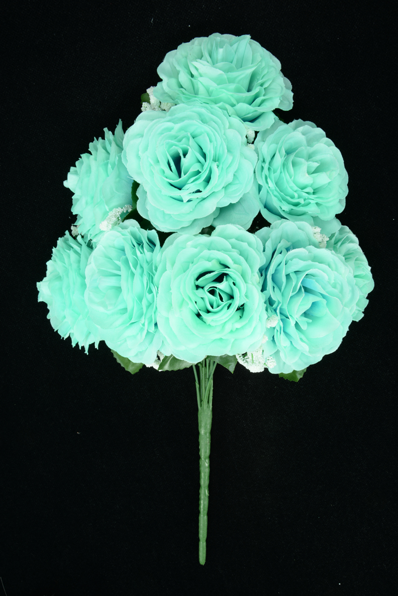 Clearance items silk flowers aqua open rose bush x9 lot of 1 sale item izmirmasajfo