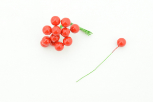 Red Artificial Berry pick, 12MM (lot of 12 bunches) SALE ITEM