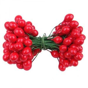 Red Twist-on Holly Berries, 4MM (lot of 1 bunch) SALE ITEM