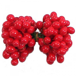 Red Twist-on Holly Berries, 6MM (lot of 1 bunch) SALE ITEM