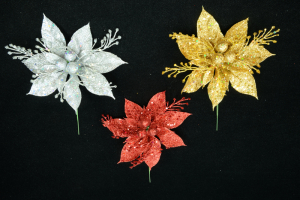Assorted Glittered poinsettia and Berry Pick (lot of 12) SALE ITEM