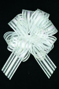 "1.25"" Wide Ribbon x 14 Loops White-Iridescent Solid and Sheer Striped Pull Bow  (Lot of 1 Bow) SALE ITEM"