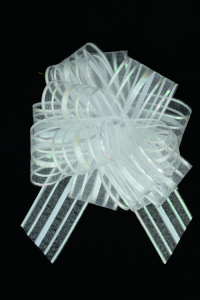 "2"" Wide Ribbon x 14 Loops White-Iridescent Solid and Sheer Striped Pull Bow  (Lot of 1 Pack) SALE ITEM"