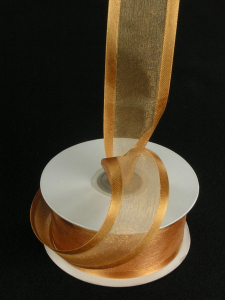 Organza Ribbon With Satin Edge , Gold, 5/8 Inch x 25 Yards (1 Spool) SALE ITEM