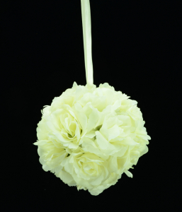 Cream 6 Inch Rose Kissing Ball (Lot of 1) SALE ITEM