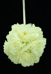 Cream 7 Inch Rose Kissing Ball (Lot of 1) SALE ITEM