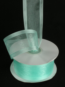 Organza Ribbon With Satin Edge , Aqua, 5/8 Inch x 25 Yards (1 Spool) SALE ITEM