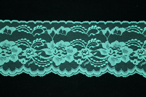 4 Inch Flat Lace, Turquoise (25 yards) MADE IN USA