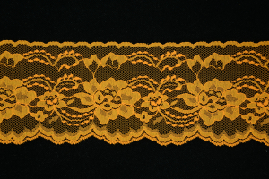 4 Inch Flat Lace, Autumn Glory Orange (25 yards) MADE IN USA