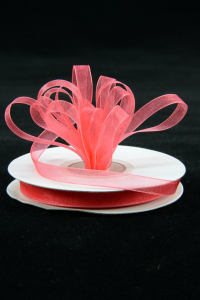 Organza Ribbon , Coral, 3/8 Inch x 25 Yards (1 Spool) SALE ITEM