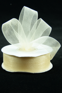 Organza Ribbon , Ivory, 7/8 Inch x 25 Yards (1 Spool) SALE ITEM