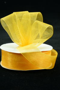 Organza Ribbon , Light Gold, 7/8 Inch x 25 Yards (1 Spool) SALE ITEM