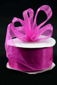Organza Ribbon , Fuchsia, 1.5 Inch x 25 Yards (1 Spool) SALE ITEM
