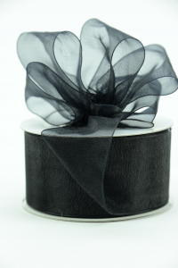 Organza Ribbon , Black, 1.5 Inch x 25 Yards (1 Spool) SALE ITEM