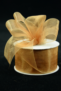 Organza Ribbon , Old Gold, 1.5 Inch x 25 Yards (1 Spool) SALE ITEM