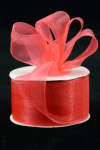 Organza Ribbon , Coral, 1.5 Inch x 25 Yards (1 Spool) SALE ITEM