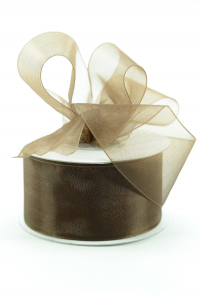 Organza Ribbon , Brown, 1.5 Inch x 25 Yards (1 Spool) SALE ITEM