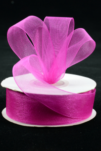 Organza Ribbon , Fuchsia, 7/8 Inch x 25 Yards (1 Spool) SALE ITEM