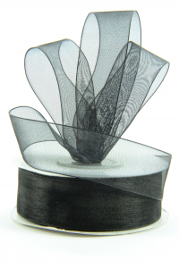 Organza Ribbon , Black, 7/8 Inch x 25 Yards (1 Spool) SALE ITEM