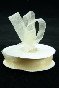 Organza Ribbon , Ivory, 5/8 Inch x 25 Yards (1 Spool) SALE ITEM