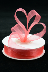 Organza Ribbon , Coral, 5/8 Inch x 25 Yards (1 Spool) SALE ITEM