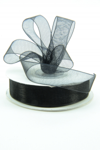 Organza Ribbon , Black, 3/8 Inch x 25 Yards (1 Spool) SALE ITEM