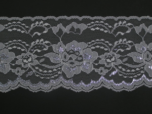4 Inch Flat Lace, White - Silver (10 yards)