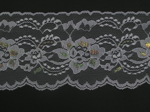 4 Inch Flat Lace, White - Iridescent (10 yards)
