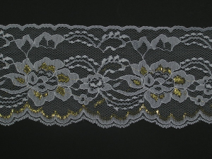 4 Inch Flat Lace, White - Gold (10 yards) MADE IN USA