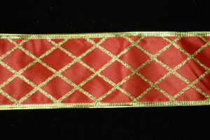 2.5 Inch Wired Red Diamond Metallic Christmas Ribbon (50 Yards) SALE ITEM