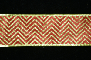 2.5 Inch Wired Red Zig-Zag Metallic Christmas Ribbon (50 Yards) SALE ITEM