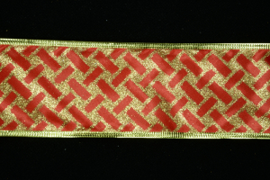 2.5 Inch Wired Red Lattice Metallic Christmas Ribbon (50 Yards) SALE ITEM