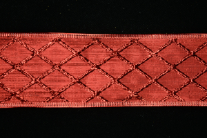 2.5 Inch Wired Red Diamond Metallic Christmas Ribbon (25 Yards) SALE ITEM