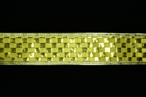 1.5 Inch Wired Gold Metallic Checkered Christmas Ribbon (25 Yards) SALE ITEM