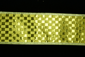 2.5 Inch Wired Gold Metallic Checkered Christmas Ribbon (25 Yards) SALE ITEM