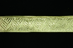 1.5 Inch Wired Gold Embossed Basket Weave Metallic Christmas Ribbon (25 Yards) SALE ITEM
