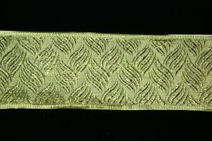 2.5 Inch Wired Gold Embossed Basket Weave Metallic Christmas Ribbon (25 Yards) SALE ITEM