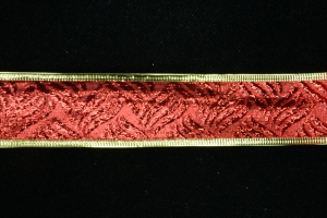 1.5 Inch Wired Red Embossed Basket Weave Metallic Christmas Ribbon (25 Yards) SALE ITEM