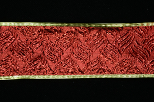 2.5 Inch Wired Red Embossed Basket Weave Metallic Christmas Ribbon (25 Yards) SALE ITEM