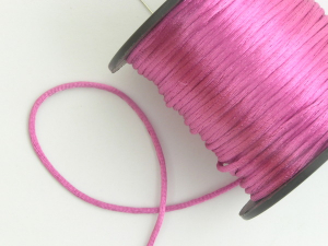 Round Satin Cord, Fuchsia, 2.5mm x 50 Meters (1 Spool) SALE ITEM